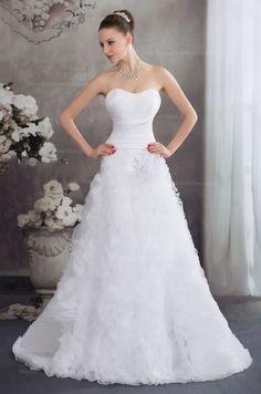 Attractive sweetheart pleated satin top ruffled organza skirt wedding dress