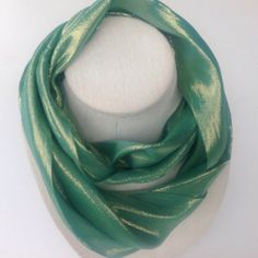 Sale 50% off! Trendy Aqua Shiny SILK Eternity scarf, Aqua iridescent Infinity scarf, Great gift for her, Ready to ship gift, Green circle by blingscarves. Explore more products on http://blingscarves.etsy.com