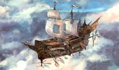Dive into The Art of Randy Vargas Gómez, a Spanish Illustrator and Comic Book Artist. Randy is a Science fiction & Fantasy Illustrator from Cuba, Flying Ship, Flying Boat, Sea Crafts, Water Crafts, Steampunk Ship, Boat Illustration, Fantasy Illustration, Statues, Ship Drawing