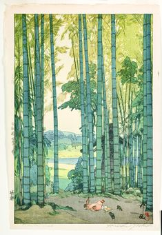"Japanese Art Print ""Bamboo Grove"" by Yoshida Hiroshi, woodblock print reproduction, asian art, cultu Japan Illustration, Graffiti Kunst, Hiroshi Yoshida, Art Asiatique, Art Japonais, Landscape Prints, Japanese Painting, Art Graphique, Japanese Prints"