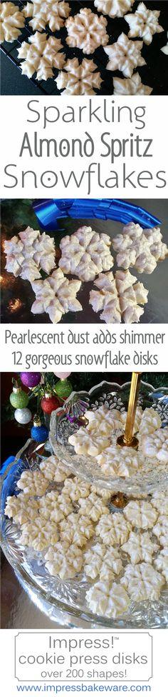 Almond spritz snowflakes. 12 snowflake cookie press disks by Impress! Bakeware.