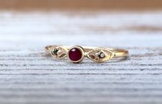 14k Ruby Ring Black Diamond Ring Solid Gold Ring by LieselLove