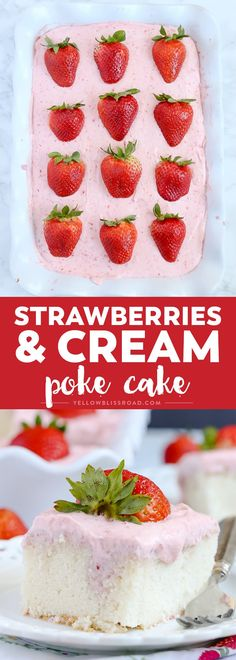 Strawberries and Cream Poke Cake ~ takes full advantage of strawberry season with tons of fresh strawberries in the filling and the frosting.a strawberry lover's dream dessert! Poke Cake Recipes, Best Cake Recipes, Cupcake Recipes, Cupcake Cakes, Dessert Recipes, Cupcakes, Amazing Recipes, Favorite Recipes, Fruit Dessert