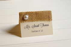 Such a gorgeous addition to your rustic chic wedding reception! What vintage or rustic chic wedding would be complete without these unique handmade burlap place cards? PRODUCT DETAILS: ------------------------ • Measurements: 3.5 inches x 5 inches (unfolded) • Place cards are hand cut