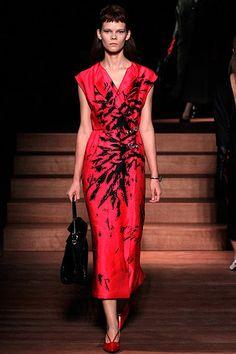 #MiuMiu - Red Dress black design kimono inspired
