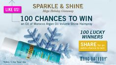 You should enter 100 Chances to Win an Oil of Morocco Argan Oil Hairspray. There are great prizes and I think one of us could win!