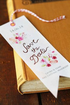 Hand Painted Save the Dates Vintage Book Marks by SailandSwan