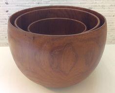 Danish Modern Teak Wood Nesting Bowls Mixing Salad Serving Dansk Era Mid Century | eBay