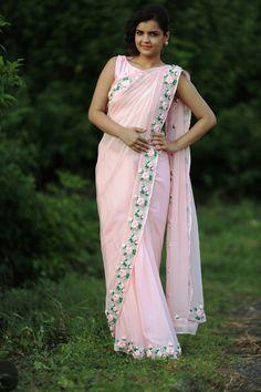 Baby Pink Rose Pure Chiffon Ribbon-Work Saree – EAST & GRACE