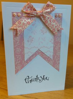 Thank you card with bow ribbon