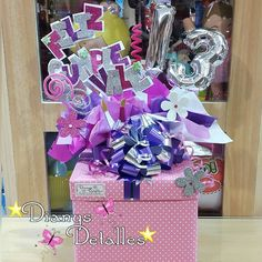Bouquet Box, Candy Bouquet, Birthday Box, Birthday Gifts, Foam Crafts, Diy And Crafts, Cute Gifts, Diy Gifts, Balloon Gift