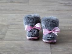 Gray and pink Baby Boots Faux Fur Baby Booties by HandmadebyInese