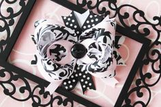 Black White Pink Damask Stacked Bow by FrostingShop on Etsy, $7.00