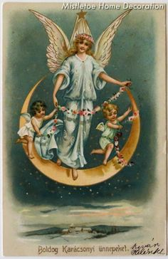Vintage Hungarian Christmas postcard with angels
