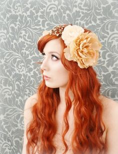 boho wreath, art nouveau head piece, flapper flower crown, wedding hair acessory - lore via gardensofwhimsy