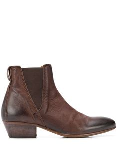 Brown leather New Mexico boots from Moma featuring an almond toe, an elasticated opening, stitched panels, a pull tab at the rear and a chunky low block heel. Brown Leather Boots, Brown Boots, Calf Leather, Moma Shoes, New Mexico, World Of Fashion, Luxury Branding, Block Heels, Calves