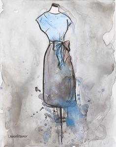 Blue and Grey Vintage Dress by LaurenMaurerStudio - Etsy - $20 (8x10)
