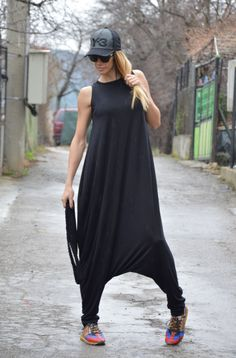 Oversize Black Viscose Jumpsuit, Sleeveles Maxi Jumpsuit, Extravagant Jumpsuit, Drop Crotch Harem Pants by SSDfashion