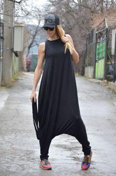 Oversize Black Viscose Jumpsuit, Sleeveles Maxi Jumpsuit, Extravagant Jumpsuit, Drop Crotch Harem Pants by SSDfashion