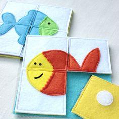 Risveglio gioco, Puzzle, ispirazione Montessori.  Un gioco essenziale per i bambini!  Il pesce rosso carino, anche se è arancione, che delizierà i