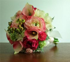 Blushing Bouquet and Boutonniere - Pink, ivory, and lime green silk flowers including calla lilies, ranunculus, roses, hydrangea, delphinium, snowball flowers, and rose hips.
