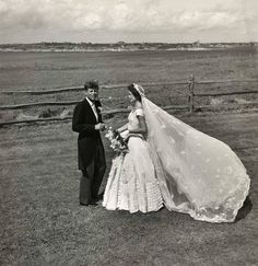 Senator John F. Kennedy marries and Jacqueline Bouvier at Hammersmith Farms, Newport, RI 1953