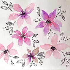 Esercizi floreali /Quick sketch - by Irene Zuccarello    #drawing #watercolor #quicksketch #sketch #flower #floral #leaves #petals #spring #fiori #acquerello #disegno #rosa #viola #primavera #colori #fleurs #flores #aquarelle #aquarela #dessin #handmade #italy #italia
