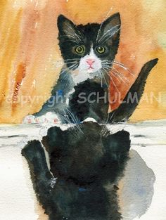 We love cats especially little kittens. This watercolor painting is of my cat Ebony just after we adopted her from an animal rescue shelter. We immediately fell in love with her white whiskers and pink nose. Here she is studying herself in the mirror. She is a very social kitty with a wonderful personality. If only she stayed little a bit longer.
