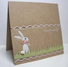 handcrafted Easter card: Blushing Bunny by die cut diva ... kraft ... clean and simple ...