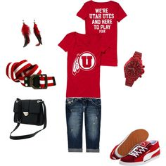 Utes at Heart, created by nikicole82 on Polyvore    What can I say, I am forever a Utah girl.