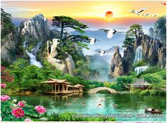 Glitter Phone Wallpaper, Chinese Painting, Fantasy World, Watercolor And Ink, Asian Art, Beautiful Landscapes, Bonsai, Woodland, 3 D