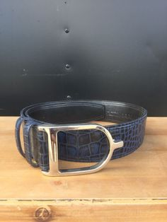 Sandy Duftler Navy Paten Croc with Silver Buckle