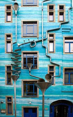 Trombone-shaped gutters turn rainfall into music