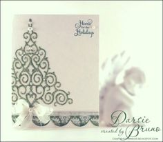 CAS Christmas card using @Spellbinders 2012 Holiday Tree with Noel Christmas Ornaments from @JustRite Papercraft, Inc.