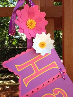 Happy Birthday Banner-Pink, Purple & Yellow with Flowers by RileyJInspired on Etsy https://www.etsy.com/ca/listing/158630691/happy-birthday-banner-pink-purple-yellow