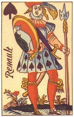 J♠ Renault. Made: Robert Passerel. Date: 1622 Playing Cards Art, Vintage Playing Cards, King Of Spades, Tigger, Poker, Tarot, Disney Characters, Fictional Characters, Bridge