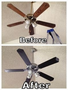 How to update ceiling fans. A simple DIY project. -- A list of some of the best home remodeling ideas on a budget. Easy DIY, cheap and quick updates for your kitchen, living room, bedrooms and bathrooms to help sell your house! Lots of before and after photos to get you inspired! Fixer Upper, here we come. Listotic.com