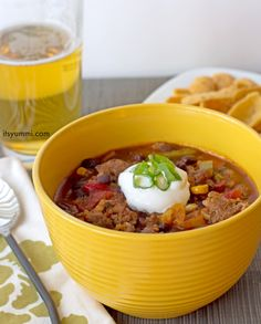 "Sweet and Spicy Bratwurst Chili Recipe - Just 5 cans and 15 minutes is all it takes to make this delicious ""dump and go"" chili recipe. You can make it in a slow cooker, too!"