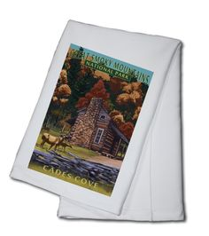 Great Smoky Mountains National Park, Tennessee - Cades Cove & John Oliver Cabin - Lantern Press Art
