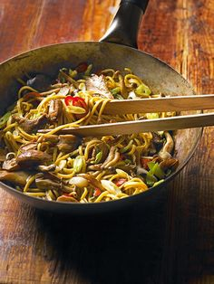 This aromatic Chinese noodle recipe is made with fresh garlic, chilli, ginger and mixed mushrooms - an easy autumnal dinner.