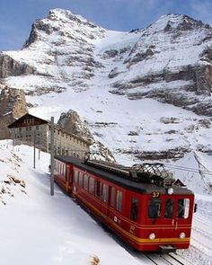 """Here's the famous Jungfrau train that can either drop you off half way up the mountain (for skiing) or take you (for a pretty steep extra fee) up to the top of the Jungfrau (or """"Top of Europe""""). Either way, the train ride is spectacular."""