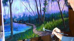 Como Pintar Bosque Niebla Atardecer 4/4 Camino Lago estanque