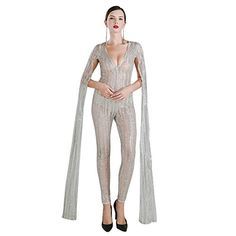Missord Women Sexy deep v Angel wings glitter evening party playsuit Silver X-Small Sequin Playsuit, Jumpsuits, Chicago Shopping, V Cuts, Sexy Women, Angel Wings, Evening Party, Overalls