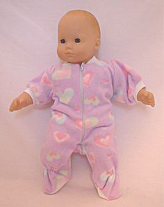 """Bitty Baby Doll Clothes Sleeper /& Hat Handmade 15/"""" Doll Pink Leopard"""