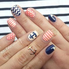 16 Nautical Anchor Nail Art Designs for Summer Anchor Nail Designs, Nautical Nail Designs, Anchor Nail Art, Nautical Nails, Cute Nail Designs, Nautical Anchor, Love Nails, Pretty Nails, My Nails