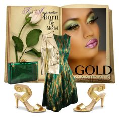"""Gold Sandals"" by fantasiegirl ❤ liked on Polyvore featuring Vince Camuto, Charlotte Olympia and Yves Saint Laurent"