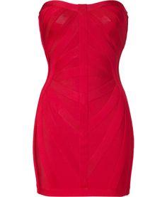 Cardinal Red Strapless Bandage Dress