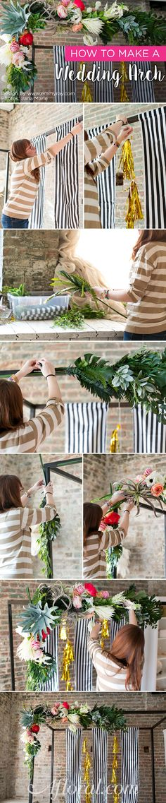Learn how to make a floral arch for your wedding! #diyweddings Designer: Emmy-Ray Design Studio Photographer: Jana Marie