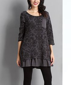 Look what I found on #zulily! Charcoal Damask Pocket Ruffle-Hem Tunic by Reborn Collection #zulilyfinds