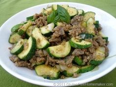 Zucchini and Sausage - The Gluten-Free Homemaker // i would substitute the sausage for ground turkey